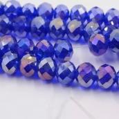 Бусины стекло 3*4мм цв.синий  145шт. с покрытием AB Color Plated