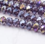 Бусины стекло 3*4мм цв.фиолетовый  145шт. с покрытием AB Color Plated