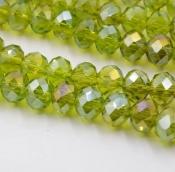 Бусины стекло 3*4мм цв.оливковый  145шт. с покрытием AB Color Plated