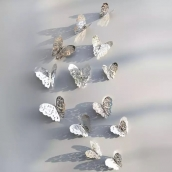 Набор бабочек 12 шт. цв. серебро