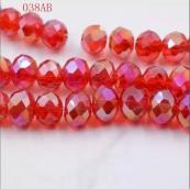 Бусины стекло 3*4мм цв.красный 145шт. с покрытием AB Color Plated