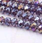 Бусины стекло 3*4мм цв.серо-фиолет. 145шт. с покрытием AB Color Plated