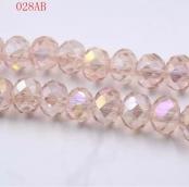 Бусины стекло 3*4мм цв.прозрачно-розовый 145шт. с покрытием AB Color Plated