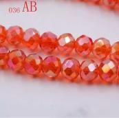 Бусины стекло 3*4мм цв.оранжевый 145шт. с покрытием AB Color Plated