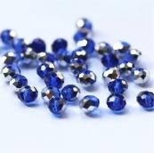 Бусины стекло 4*6мм цв.синий 50шт. с покрытием AB Color Plated Австрия