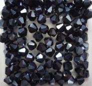 Биконусы стекло 4мм цв.черный 100шт. не прозрачн.Австрия