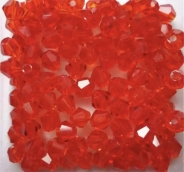 Биконусы стекло 4мм цв.красный 100шт. прозрачн.Австрия