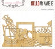 Вырубки из дерева 23 шт Hello My Name Is