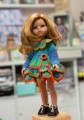 Платье укороченное цв. зел-син+ воротник на куклу Paola Reina