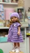 Жилет сиреневый плюш.+шапочка на куклу Paola Reina