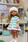 Жилет мятный плюш.+шапочка на куклу Paola Reina