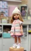 Жилет розовый плюш.+шапочка на куклу Paola Reina
