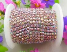 Стразовая лента на серебре 2мм цв.св. розовый с покрытием 1 ярд