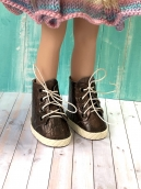 Ботики для куклы на шнуровке корич 5.5 см