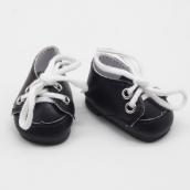 Ботиночки черн. кожзам с бел шн. 2,8*5см
