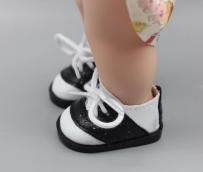 Ботиночки черн-бел. кожзам  2,8*5см