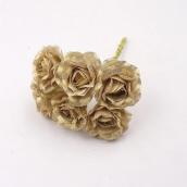 Розы ткан. золот. 3,5см 6шт