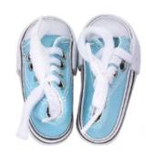 Кеды для кукол  на шнурках 7,5см голубые
