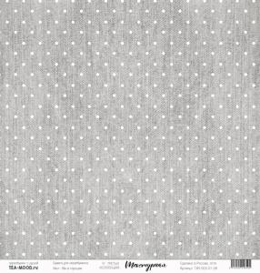"""Лист  бумаги """"Текстурная"""", размер 30,5 х 30,5 см, """"Лен в горошек"""""""