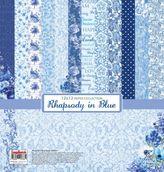 Набор бумаги Ноктюрн в голубых тонах 30,5х30,5 см 190 гр/м,  (6+2)