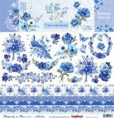 """Бумага для скрапбукинга односторон 30,5х30,5 см """"Ноктюрн в голубых тонах"""" карточки 2, 190 гр/м"""