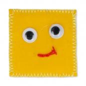 """Термоаппликации """"квадрат"""" малые джинс желтый с глазками 5.5х5.5 см"""