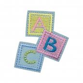 Термоаппликации №92 12 шт №3221 кубики ABC 5 х 6.5 см