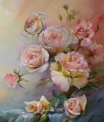 Алмазная живопись Розы нежно-роз. 30*40см