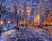 Алмазная живопись Зимняя улица 38*28см