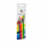 Набор цветных кисточек  5 шт. короткая ручка