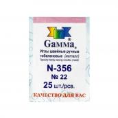 """Иглы для шитья ручные   """"Gamma""""   N-356   гобеленовые №22   25 шт.  в конверте  острие закругл."""
