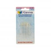 """Иглы для шитья ручные   """"Gamma""""   N-381   синельные №18-22   6 шт.  в блистере"""