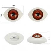 Глаза круглые выпуклые цветные 17мм цв.коричневый 1шт