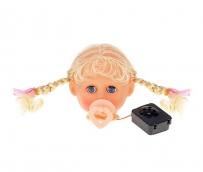 Голова с волосами-косичками для изгот-ия куклы, с соской, издает 4 звука при извлечен соски
