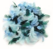 Декоративные перья бирюзовое ассорти 10г