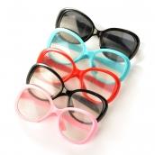 Очки со стеклом O8,5см, пластик  цв.ассорти уп.5шт