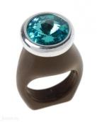 Силиата (Кольцо) Покрытие: Черненое серебро Вставка: Кристалл Swarovski  Цвет вставки: Голубой