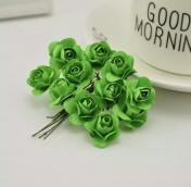 Цветы розочки бумажные зеленые букетик 12шт   2см
