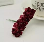 Цветы розочки бумажные бордовые букетик 12шт   2см