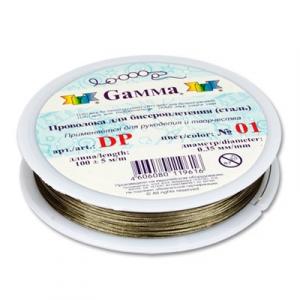 Проволока для бисера   сталь   DP  d 0.45 мм  100 м  ±0.5 м№01 под серебро