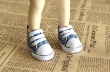Кеды для кукол  на шнурках 5см джинс.