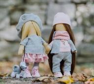 Интерьерные куклы «Подружки Вики и Ники- на прогулку» набор для шитья, 15,6* 22.4 *5.2 см    4716787